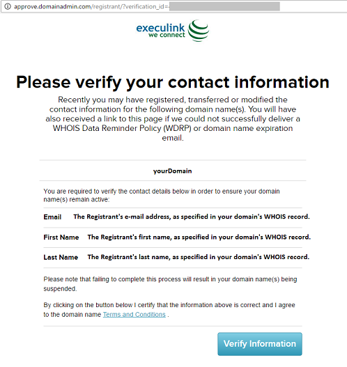 Registrant WHOIS Verification Page